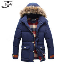 M- 2XL Hat Detachable Winter Parka men hombre Long Thick Cotton Winter Coat Men Zipper Warm Solid Casual Mens winter jacket 501B