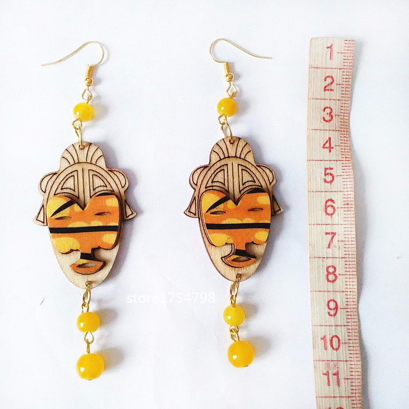 CColorful Carving wood Earrings Stone Beads Handmade  Earrings 3D Personality Laser Cut eco Friendly Wooden Bird Jewelry