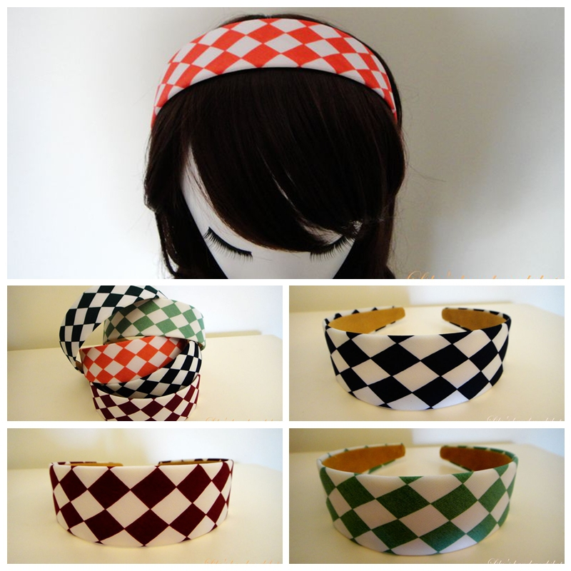 Lily hand 2015 June new woman's hair accessories summer style Dual color grid width hairband L60013(China (Mainland))