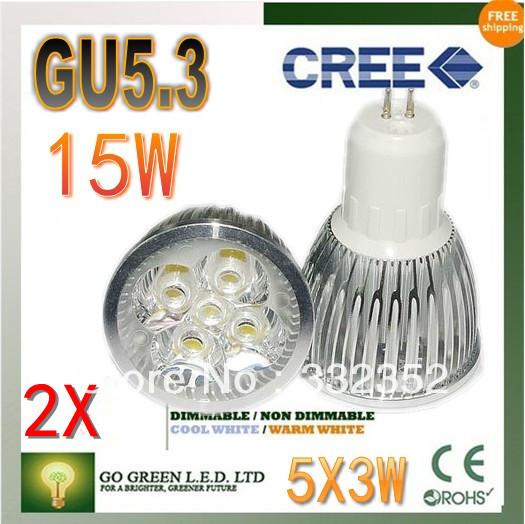 Free shipping 2XHigh-power CREE led bulb GU5.3 12W 15W AC85-265V Dimmable Warm/Pure/Cool white led Spotlight led lamp led