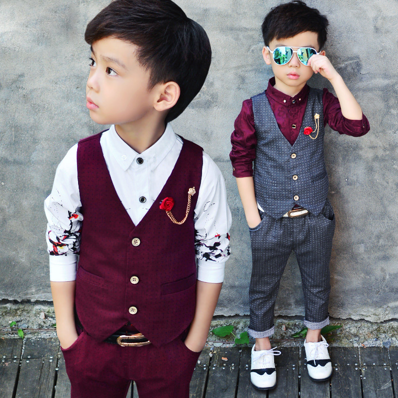 2016 New Childrens Formal Sets Two Pics Wedding Suits For Baby Boys Wedding Clothes Birthday