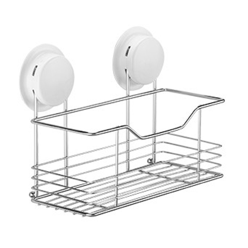 Simple Suction Bathroom Shelf New Unique Plastic And Stainless Steel Single