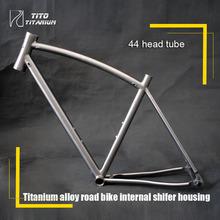 Free shipping !!! TiTo titanium new road bike frame 700C titanium road bicycle bent top tube internal shifter housing(China (Mainland))
