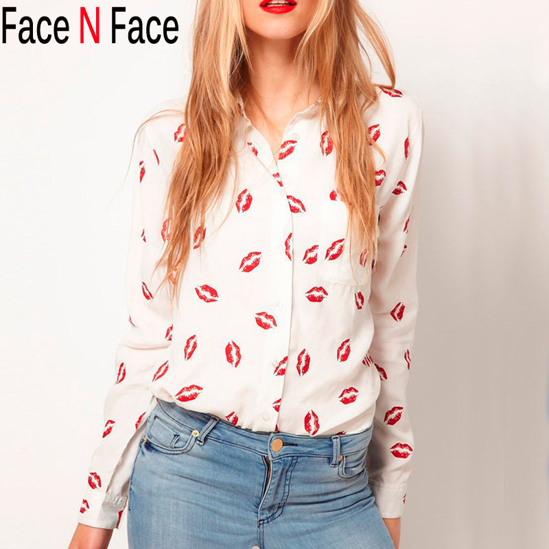 Women Sexy Red Lips Print Blouses Shirts New 2015 Fashion Loose Blouses Tops For Women Casual Long Sleeve Ladies Blusas Shirts(China (Mainland))