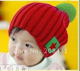 Free shipping!!The most popular fashion candy colored star labeling wool cap / Baby Hat
