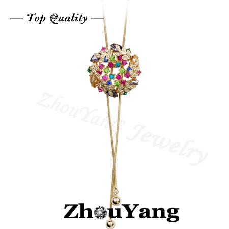 ZYM015 Multicolour Flowers Sweater Coat Chain 18K Rose Gold Plated Pendant Necklace  Austrian Crystal  Wholesale