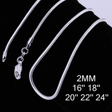 """Buy C010 Cheap Hot 2MM Thin silver Snake Chain Jewelry Findings 16""""18""""20""""22""""24"""" Wholesale price 925 jewelry 2pcs/lot for $1.89 in AliExpress store"""