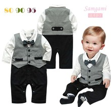 Retail 2015 1pcs Baby Romper New Baby boys set Romper Gentleman modelling infant long sleeve climb