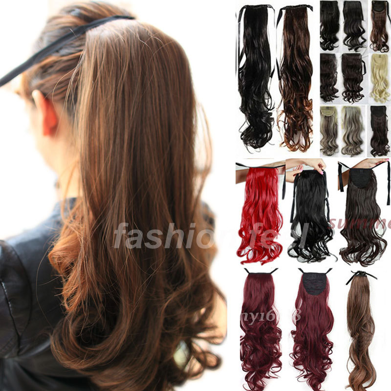Long Drawstring Clip In Ribbon Ponytail Pony Tail Hair Extension Piece Wavy Style Wrap On Hair Piece US Local Stock(China (Mainland))