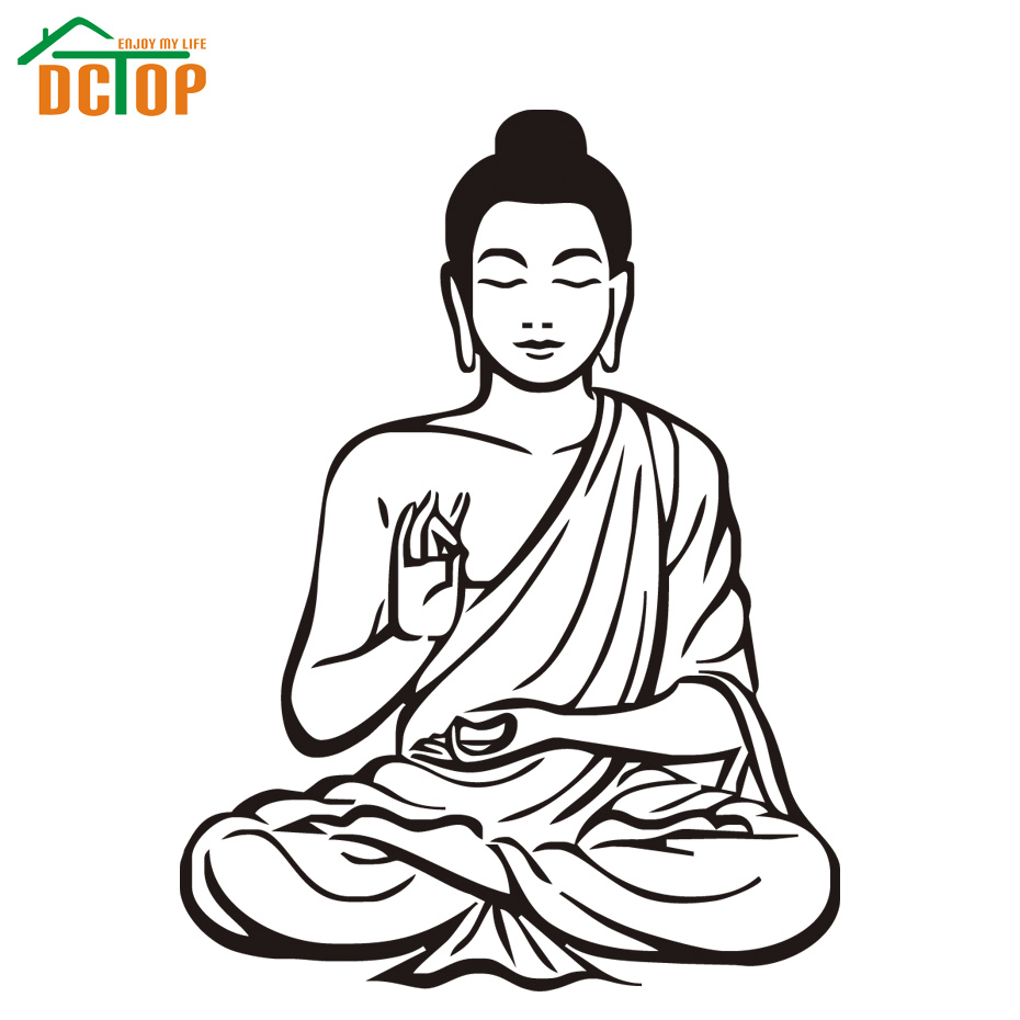 Most Popular Buddhism Buddha Wall Decals Home Decor Removable Vinyl Art Sticker For Living Room(China (Mainland))