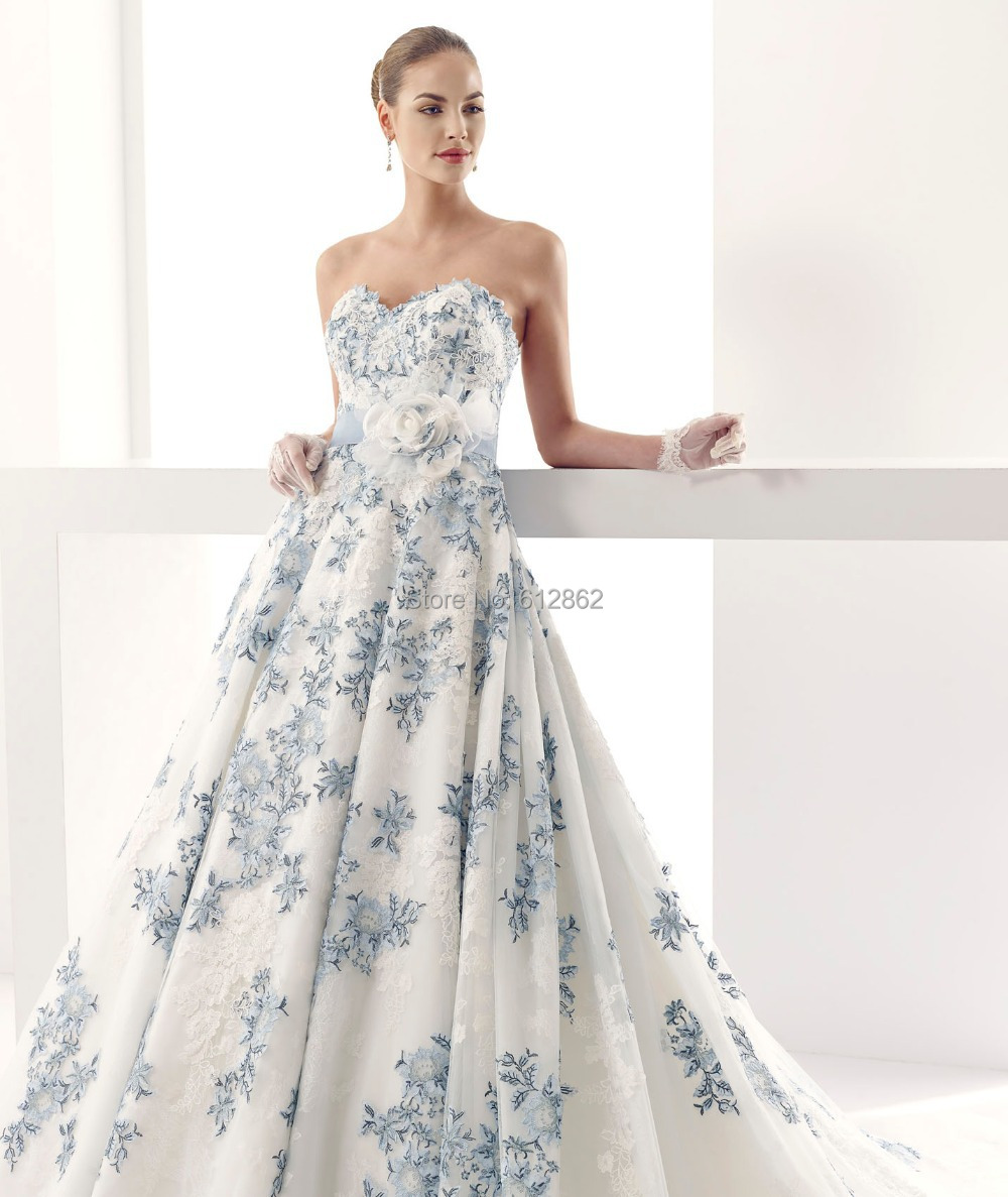 ball gown lace royal blue and white wedding dresses from reliable gown