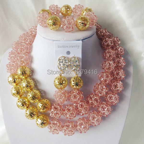 Fashion Nigerian African Wedding Beads Jewelry Set , Crystal Necklace Bracelet Earrings Set C0330<br><br>Aliexpress