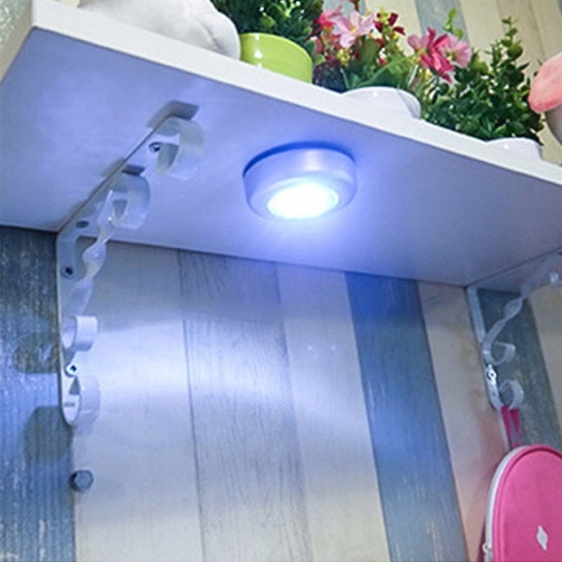 Under Cabinet Closet Push Tap Stick On Lamp 3LED 4 LED Cordless Stick Tap Wardrobe Touch Light Lamp Battery Powered Home Kitchen