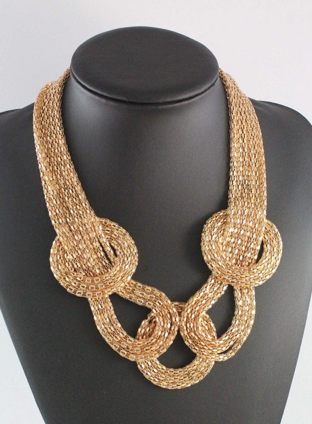 Fashion Women Chunky Golden Twist Knot Mesh Snake Chain Collar Choker Statement Bib Necklace Jewelry Wholesale 6 Pcs <br><br>Aliexpress