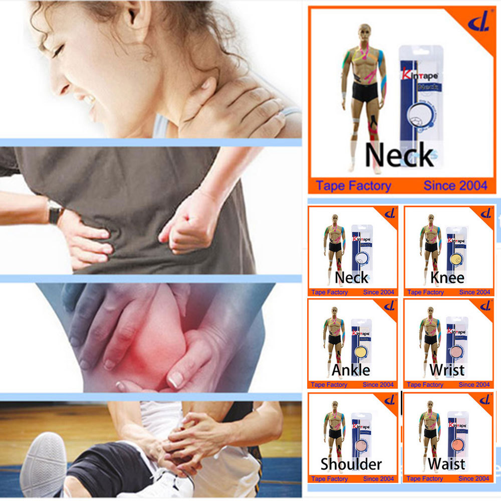 Kintape Cure Group ( 2 bags/ lot)Kinesiology Tape Pre-Cut Applications for Knee Ankle Waist Shoulder Back Pain Cure Health Care(China (Mainland))