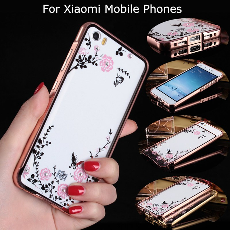 Mi5 Secret Garden Flowers plating Diamond Acrylic & Aluminum Metal Frame Back Case Cover For Xiaomi Series Mi 4 4S 5 M4 M4S M5(China (Mainland))