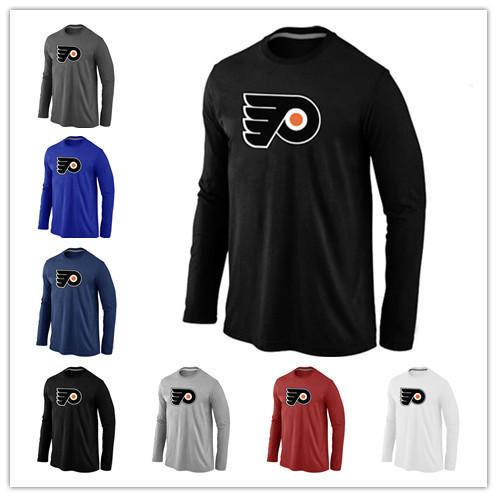 Cheap Philadelphia Flyers Hockey Long Sleeve T Shirts Big&Tall Logo Fashion Flyers Hockey Tees Shirt Cotton O-Neck T-shirt(China (Mainland))