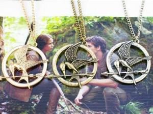 2015 New Necklaces Pendants for men women 3D movie Hunger games ridicule mock bird zinc alloy