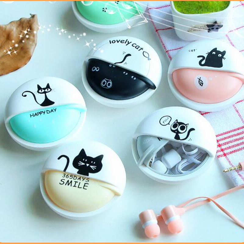 new Best kids gift Cartoon 2016 Anime Earphone black cat 3.5mm For iPhone Mobile Phone MP3 player Computer kids(China (Mainland))