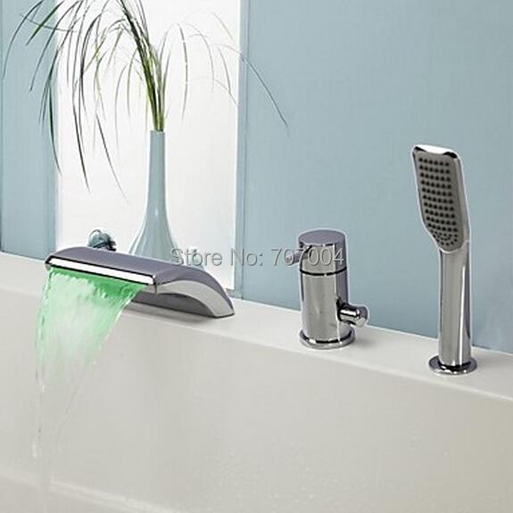 3 Hole Tub Faucet : Bathtub Waterfall Spout Faucet Three Hole 3pcs LED Bath Tub Faucet ...