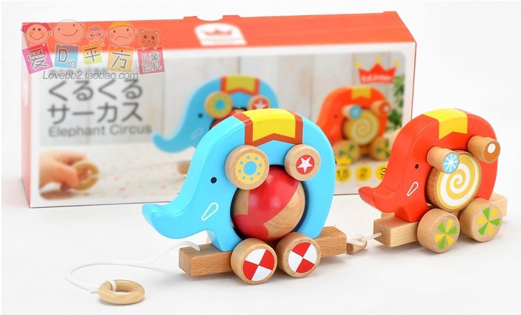 free delivery ,original sample,ED.INTER of toy car ,Forest toys kurukuru circus,Wooden toy animals,drag and drop of Animal car(China (Mainland))