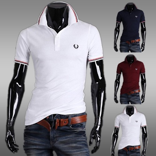 2016 summer hot sales Men's fashion embroidery t shirt simple slim custom fit short sleeved T-shirt cotton v-neck top tees men(China (Mainland))