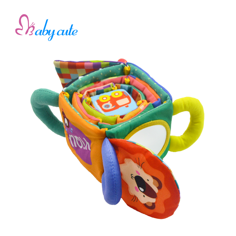 Baby Toys Soft Rattle Mobile Cube Colorful Cloth Animals Stroller Toy Early Learning Euducational Toys For Baby 0-12 Months(China (Mainland))