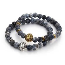 2016 Tiger Eye Lion Head Bracelet Buddha beads Bracelets Bangles Charm Natural Stone Bracelet Men Jewelry pulseras hombre F3224(China (Mainland))