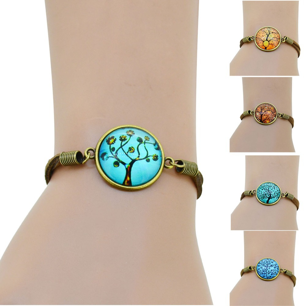 Гаджет  HOT life tree glass Cabochons Bracelet Bangle antique Brown Charms bracelet Wonderful Gift Lobster Clasp women bracelet fashion  None Ювелирные изделия и часы