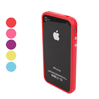 Colorful TPU Bumper Frame Case with Metal Buttons for iPhone 4 and 4S  Free Shipping
