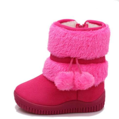 2016 Winter Shoes Girls Boots Children Fur Warm Ankle Snow Boots Kids Flat With Zip Antiskid Baby Cotton Shoes Toddler 02(China (Mainland))