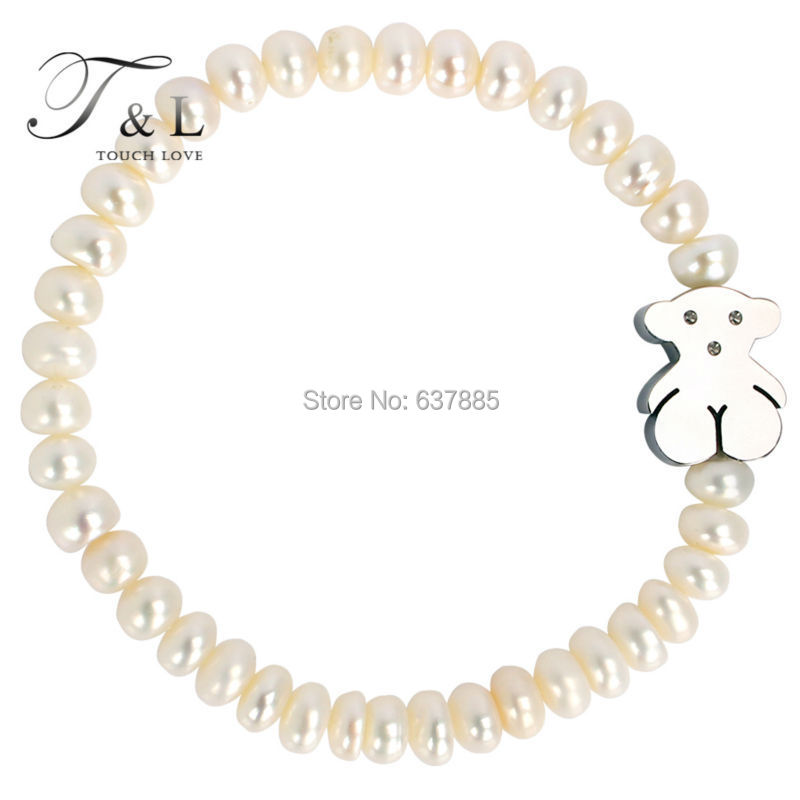 Titanium bear tibetan bracelet and bangle with real pearl. Fashion bear jewelry for women. Brand pearl bracelet.(China (Mainland))