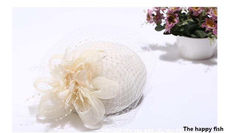 Charming Wool Black Simplicity Women Lady Classic Fascinator Hair Pillbox Hat Floral Felt Cocktail Party Wedding Church Fedora (3)