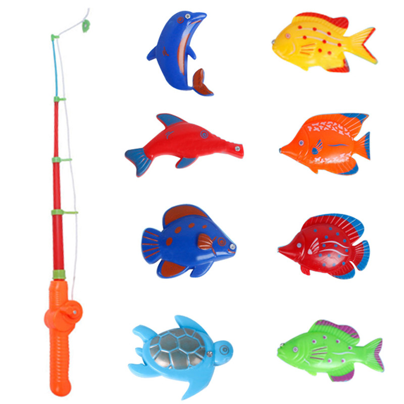 1 set of Magnetic Fishing Toy Plastic 8 Fishes With Rod Model Educational Toys For Kids Free Shipping(China (Mainland))