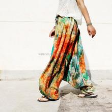 Women Harem Pants Plus Size Pure Cotton Saggy Pants Multicolour Tie Dye Big Crotch Loose Trousers Pantalon Femme Wide Leg Pants(China (Mainland))