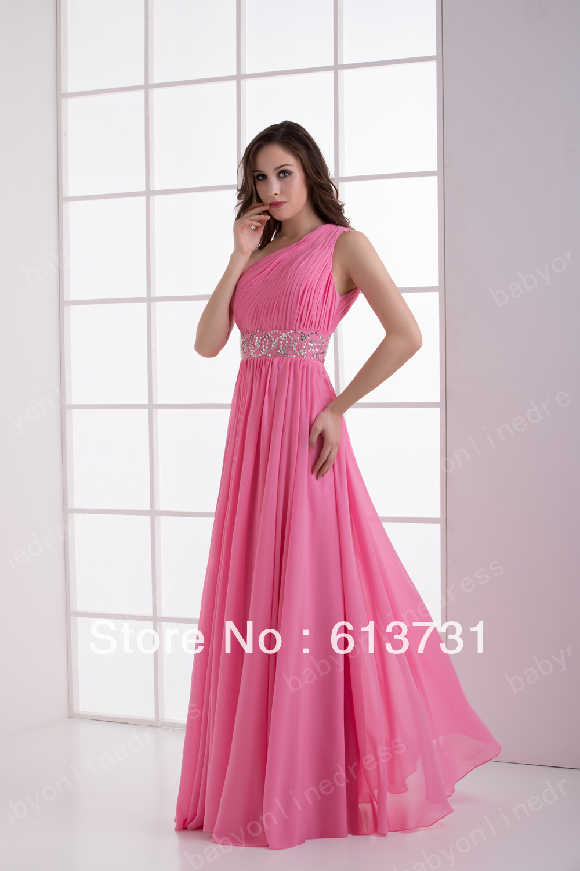 Custom Made 2013 New Sexy Long Bright Pink Evening Dresses