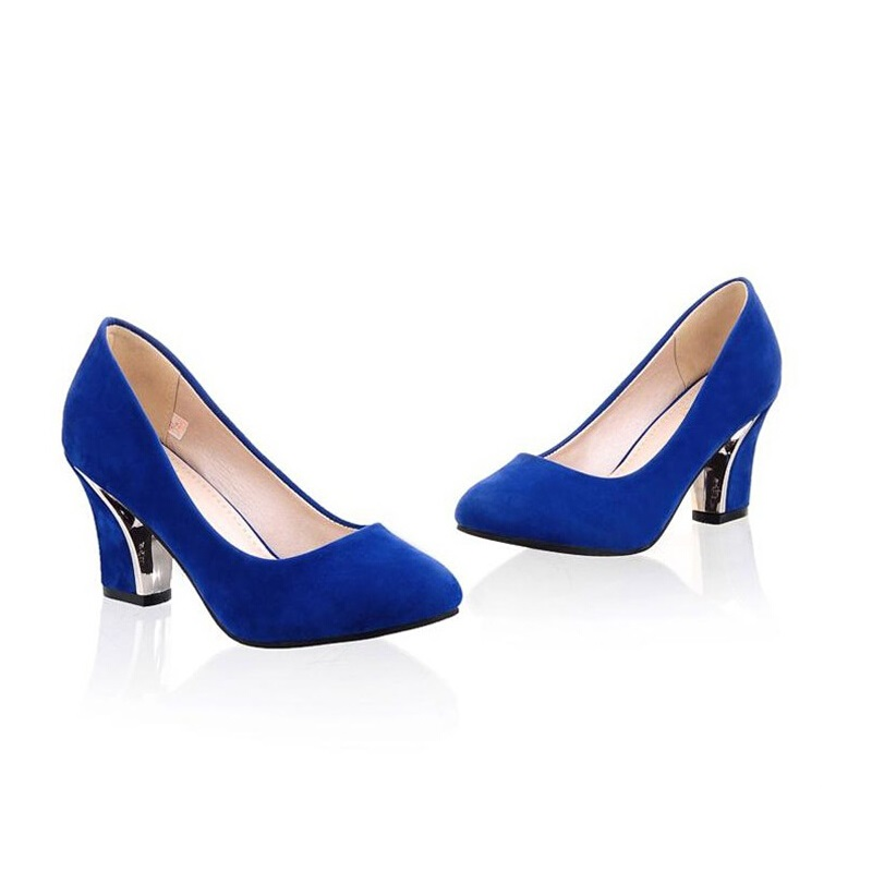 2016 spring and autumn female high-heeled shoes thick heel plus size single shoes round toe shallow mouth sexy elegant women's