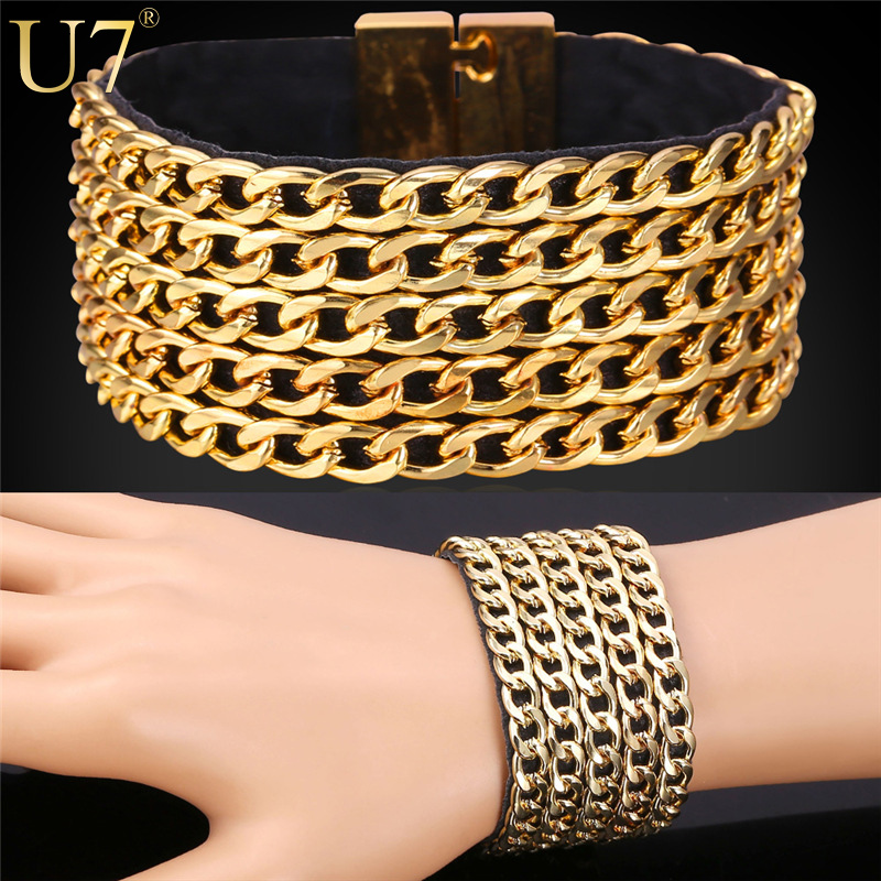 U7 Hip Hop Big Leather Bracelet Men Jewelry Trendy 18K Gold/Platinum Plated Cuban Link Chain Mens Bracelet 2015 Rock Style H747(China (Mainland))