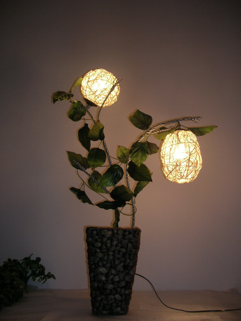 2014 real promotion incandescent bulbs cottage 220v green no rattan floor lamp straw braid vase decoration lamps ,free shopping(China (Mainland))