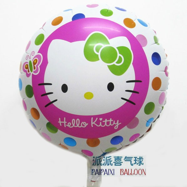 Hello kitty round hape foil balloon for girl birthday party supplies baloes de festa ( No minimum order !!!!!! )(China (Mainland))