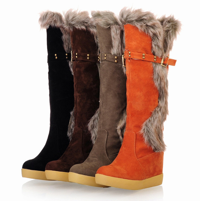 ENMAYER Mid-Calf Boots Leisure Style Shoes Women Fur Shoes Buckle Round Toe Platform boots Shoes wedges snow boots Shoes Knight<br><br>Aliexpress