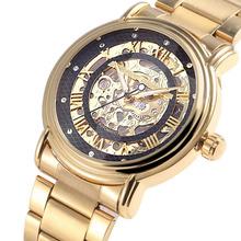 Brillante oro de lujo mecánico automático para hombre Wristwtach pulsera de cadena de acero reloj Business Relogio Mecanicos