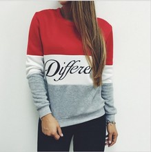 2016 Women Pullover Spring Hoodies Letters Diffferent Printed Mix Color Casual Fleece Sweatshirts Sudaderas Mujer