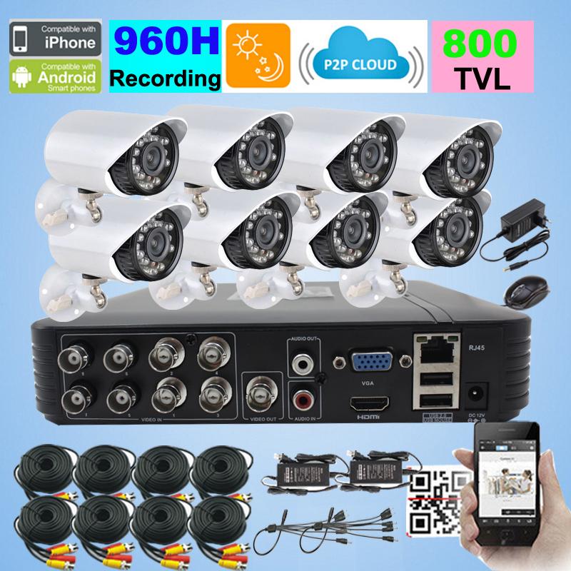 8 Channel H.264 network DVR with 8pcs IR Weatherproof Surveillance day night vision 480TVL security Camera Kit CCTV DVR System<br><br>Aliexpress
