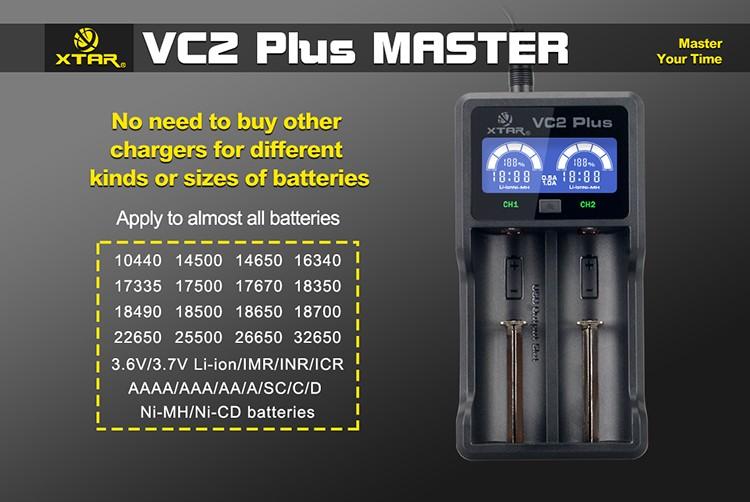 ถูก สำหรับ18500 18650 XTAR VC2บวกแบบพกพาที่มีประโยชน์จอแสดงผลLEDพลังงานแหล่งที่มาธนาคาร2CH USBชาร์จแบตเตอรี่ลิเธียมสำหรับLi-Ion Ni-Mh Ni-CD
