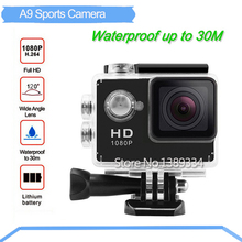 Action HD 1080P Digital Camera 2 inch Sports Action waterproof Photo Camera Underwater Camera Video Recorder mini camcorder A9(China (Mainland))