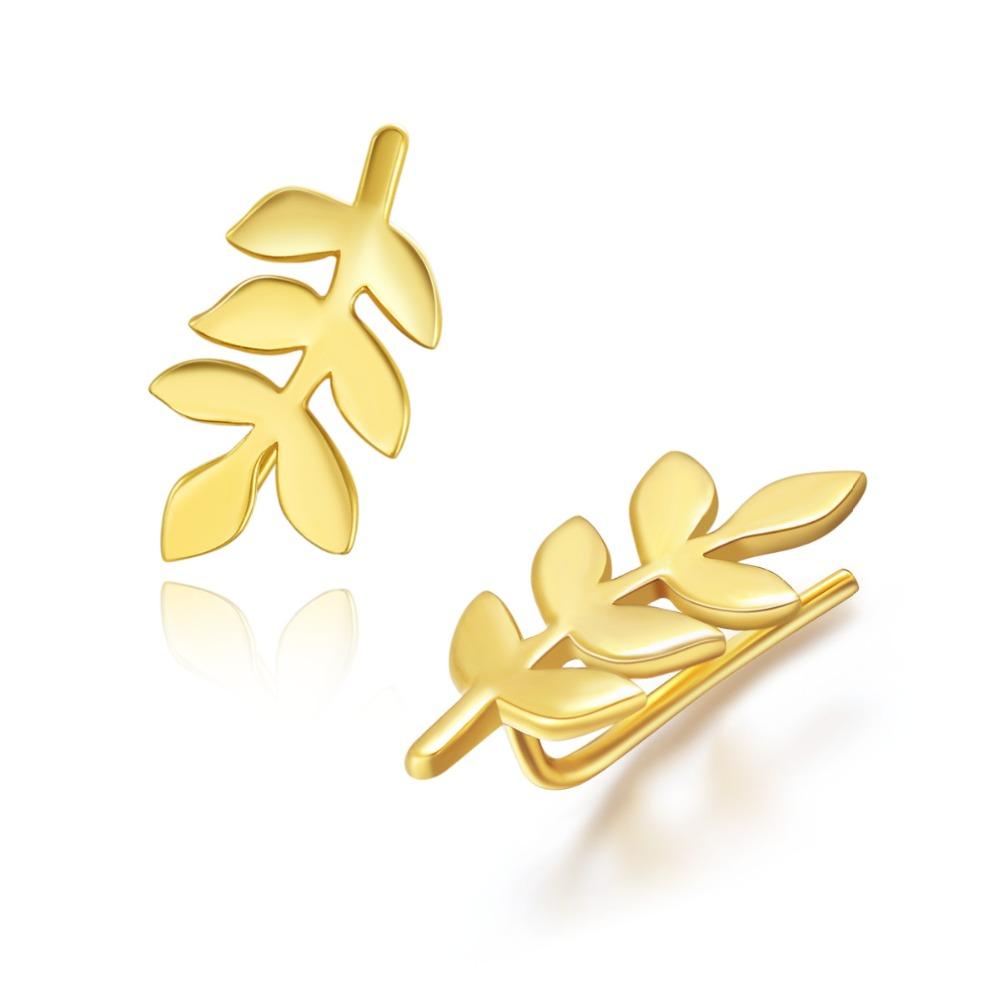 925 Sterling Silver Delicate Mini Leaf Sweep Ear Crawlers Earrings<br><br>Aliexpress
