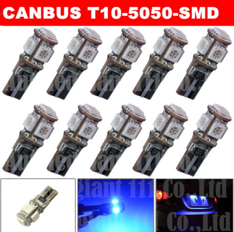 10x Blue T10 Canbus W5W LED Error Free 5 5050SMD 194 921 Car Interior Light License Plate Cargo Side Parking bulb - EcoFri Led Factory store