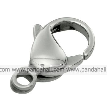 Stainless Steel Lobster Claw Clasps,  Nickel Color,  about 7.6mm wide,  15mm long,  hole: 2mm(China (Mainland))