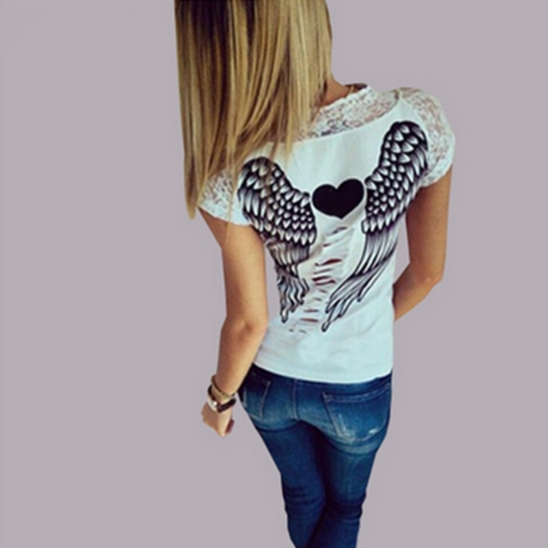 Fashion Women's T shirt Back Hollow Angel Wings T-shirt Tops Summer Style Woman Lace Short Sleeve Tops T shirts Clothing(China (Mainland))